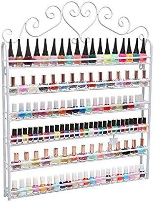 pissente etagere murale pour vernis a ongles 6 etages meuble de rangement pour produits cosmetiques salle de bain blanc