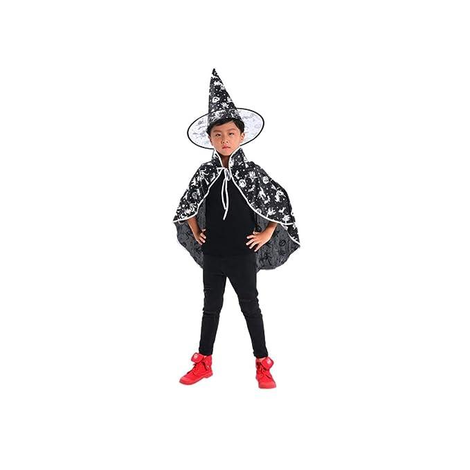 Bambino Stampa a Caldo Strega Mago Magico Mantello Mantello di Halloween  ,Abbigliamento performante + Cappello Bambini Adulti Baby Costume Wizard  Witch ... ee15fe75fb2c