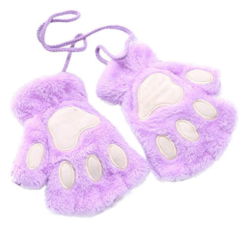 Girls Mittens, Palarn Cat Claw Paw Fingerless Gloves Plush Half Finger Gloves