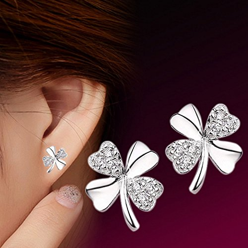 Money coming shop Fashion Jewelry Silver Plated Stud Earrings Vintage Lucky Clover Scrub Flower Four Leaves Earring Women bague femme (Gift Card My Balance)