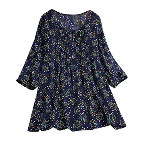 Aniywn Women Plus Size Linen National Tunic T-Shirt Loose Plus Size Boho Swing Long Tops - Boys Patterned Poplin Shirts