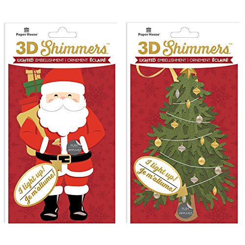 Paper House Productions EMB-2001E LED 3D Shimmers, Santa/Tree (2-Pack)