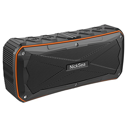 NickSea Wireless Bluetooth Speaker, Outdoor Waterproof Portable Audio Speaker with Build-in dual Drive, Stereo, Enhanced Bass, 16W Louder Sound, TF Card Slot, Orange