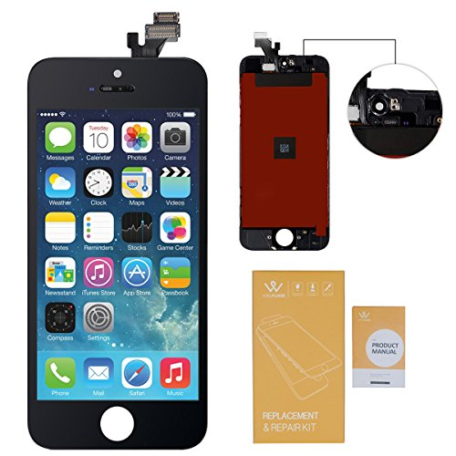 WEELPOWER LCD Touch Screen Digitizer Glass Replacement Assembly for iPhone 5 with Repair Tool (Black)