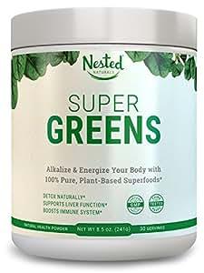 SUPER GREENS   #1 Green Veggie Superfood Powder   20 Organic Food Ingredients: Spirulina, Chlorella, Spinach, and Barley Grass   Juice & Smoothie Drink with Probiotics + Enzymes   Soy & Gluten Free, 8.5 oz