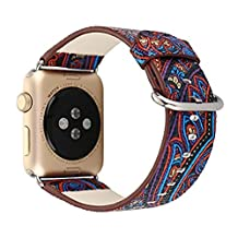 Sundo 38mm S/M for Apple Watch Band PU Leather Flower Prints Strap Wrist Bands Bracelet Belt Replacement With Stainless Adapter for Nike+ Sport Edition Series 2 Series 1 (7# 38mm)