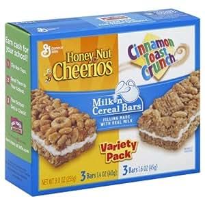 General Mills Variety Pack Milk 'N Cereal Bars 9 Oz (Pack of 10)