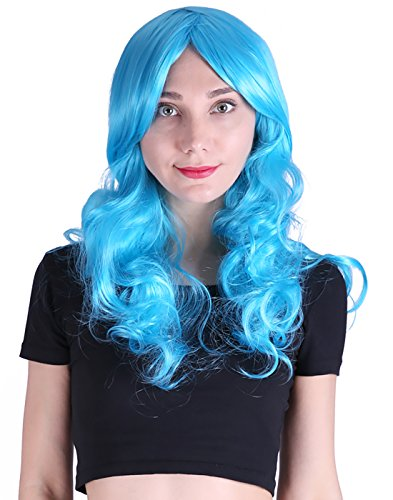 HDE Womens Long Wavy Wig Curly Glamour Hair Style for Halloween Cosplay Costumes (Blue)