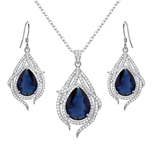EleQueen 925 Sterling Silver Cubic Zirconia Teardrop of Angel Bridal Pendant Necklace Hook Earrings Set Sapphire Color