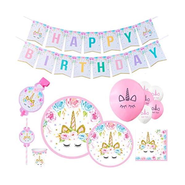 Unicorn Party Supplies & Decorations - Vajilla desechable con pancarta de feliz cumpleaños, platos, globos, popotes, sopladores, vasos de 9 onzas, globos de unicornio blanco y rosa - 169 piezas, para 16 personas