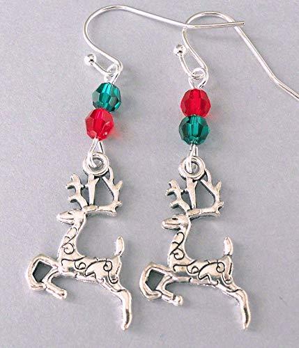 Handmade Swarovski Crystal Reindeer Earrings