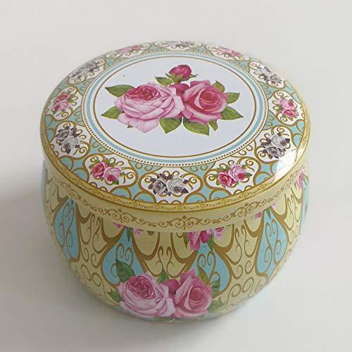 VEA-DE Caja de Almacenamiento multipropósito El té Hermoso de la Flor del Caramelo de la Boda Puede Lata de hojalata (Rosa Amarilla)
