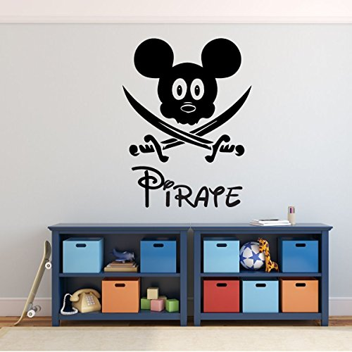 Pirate Mickey Mouse with Swords - Disney Wall Decal - Vinyl Home Decor for Kids Bedroom or (Go Industries Black Powder)