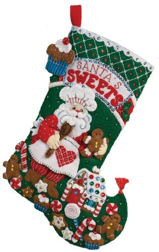 Christmas Stocking Kit.Bucilla Felt Applique Christmas Stocking Kit Santa S Bakery