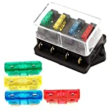 Idealhere 4 Way Car Vehicle Circuit Automotive Blade Fuse Block Holder Box + Fuse