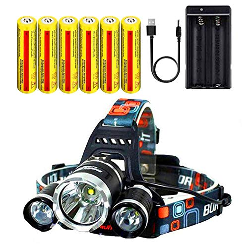 Headlamp.Ultra Bright CREE 20000 Lumen Head Flashlight.18650 USB Rechargeable LED Head Lamp.HeadLamps for Adults, Camping, Outdoors & Hard Hat Work.(Charging equipment and 6 PC Battery Included)