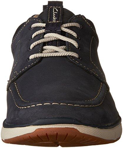Clarks Men's Orson Bay Moc Toe Sneaker,Navy Nubuck,US 9 M