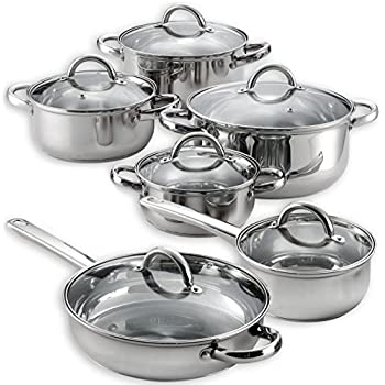 Amazon Com Heim 12 Piece Cookware Set Stainless Steel