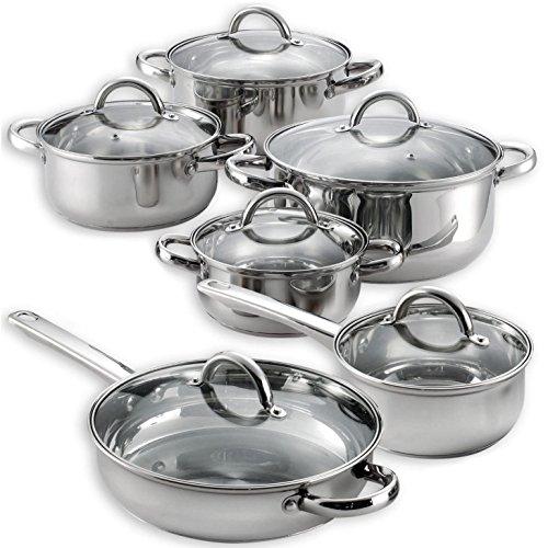 Heim 12 Piece Cookware Set Stainless Steel Pots Pans w/ Glass Lids Ply New
