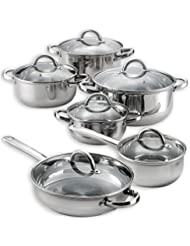 Heim 12 Piece Cookware Set Stainless Steel Pots Pans With Glass Lids Ply New 3 Layered Bottom With Heat Conduction...