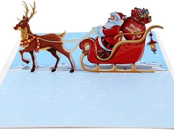 Postkarte Weihnachtskarte mit Umschlag Popup 3D Weihnachtsmann mit Schlitten