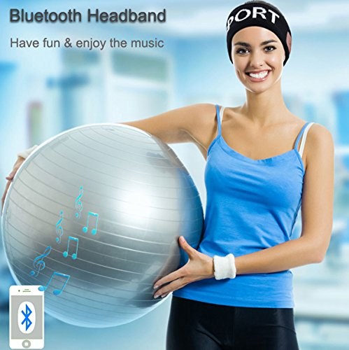 Qshell Bluetooth Headband with Wireless Headphone Headset Earphone Stereo Speakers Microphone Hands Free for Outdoor Sports Skiing Snowboard Fitness, Compatible with Iphone Android Cell Phones - Black
