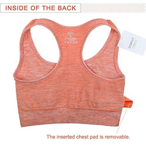 Yoga Donna sostegno Running con imbottitura forte Fintness orange Disbest Reggiseno ferretto Reggiseno senza Sportivo dBwgTqTt