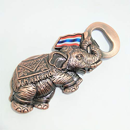 (Bottle Opener Bronze Elephant Metal Alloy Solid Fridge Refrigerator Magnet Beer Wine Openers in Yellow Box Glass Beer Soda Handmade Thai Flag Thailand Decor Premium Gift)