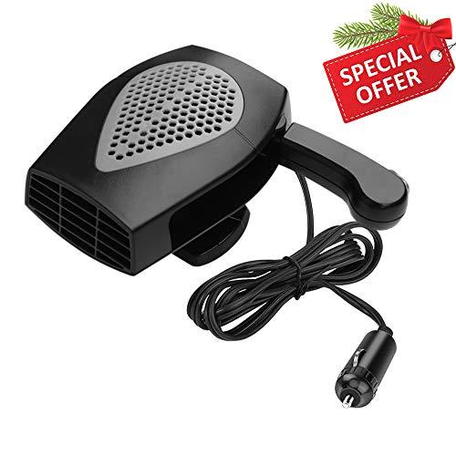 Portable Car Heater, Fast Heating Defrost Defogger Space Automobile Windscreen Heater, Heat Cooling Fan Ceramic Heater 3-Outlet Plug Adjustable Thermostat in Cigarette Lighter(Black)