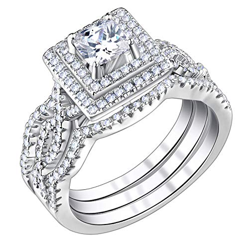 SHELOVES Princess Cubic Zirconia Wedding Rings Set for Women Sterling Silver Engagement Ring Sz 5-10