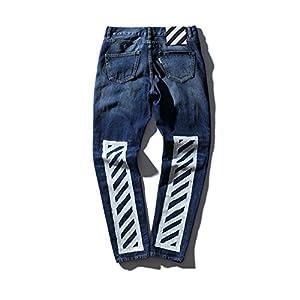 Finlindan Pants White Men 'S Wear Washed Frayed Striped Printed Men' S Jeans Jogger Pants Kanye West Off-White Swag
