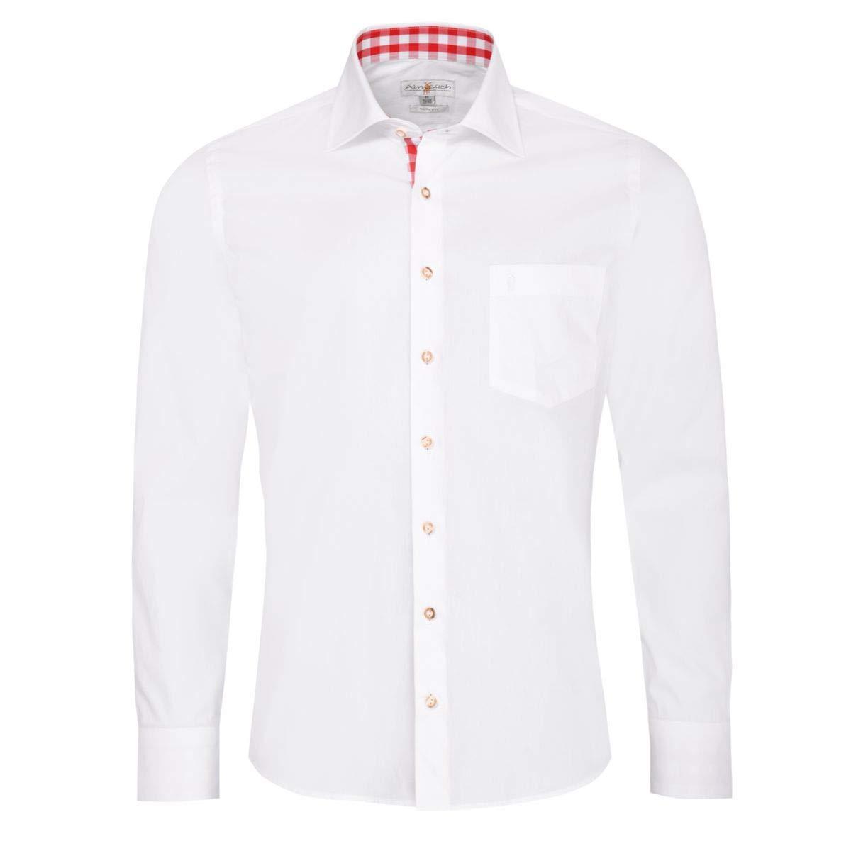 1313d1f8e95fef Almsach Trachtenhemd Dennis Slim Fit in Weiß und Rot Inklusive  Volksfestfinder
