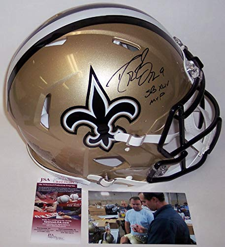Drew Brees Autographed Hand Signed Riddell New Orleans Saints Speed Full Size Authentic Pro Football Helmet - with SB XLIV MVP inscription - JSA