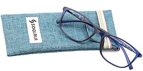 SOOLALA Lightweight TR90 Full Frame Oversized Clear Lens Eyeglasses Reading Glasses, Blue, +3.75D - Eyeglasses Light Blue Frame