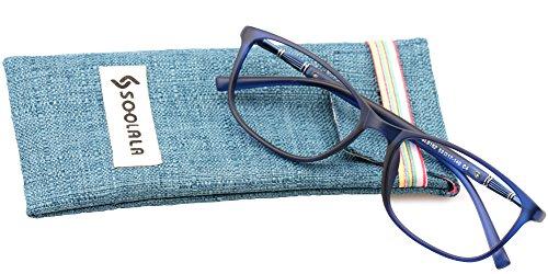 SOOLALA Lightweight TR90 Full Frame Oversized Clear Lens Eyeglasses Reading Glasses, Blue, - Online Reading Lens Glass Glasses