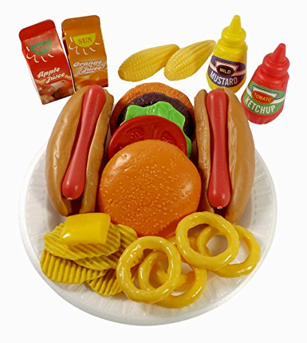 Burger Hot Dog (PowerTRC Fast Food Play Set For Kids, Includes Burger, Hot Dog, Potato Chips, Onion Rings, Corn And More Accessories)