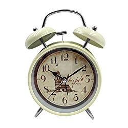 Loud Alarm Clock Hippih 4 Non-ticking Quartz Analog Vintage Desk Clock with Backlight and Battery Operated for Heavy Sleepers, Kids Bedroom(Istanbul White)