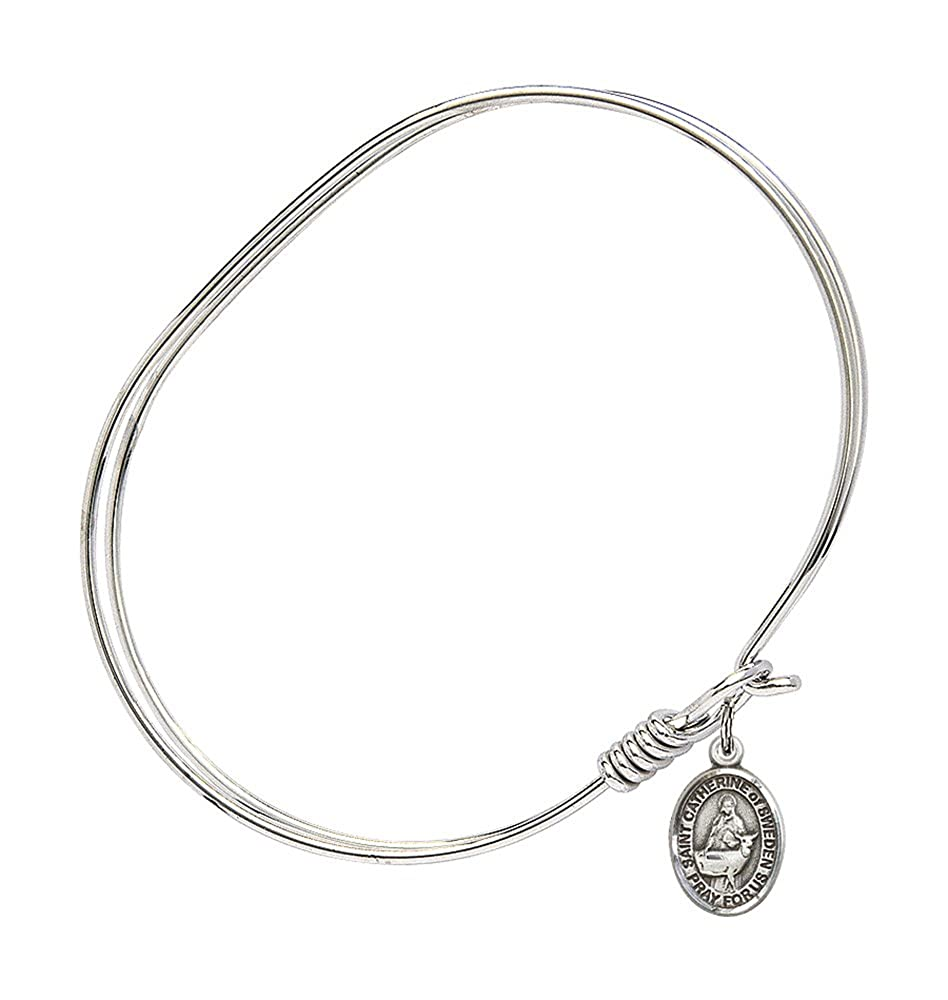 7 inch Oval Eye Hook Bangle Bracelet with a St Catherine of Sweden charm.