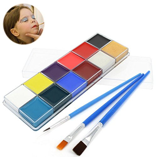 Face Paint Kit for Kids and Adults,Professional Face & Body Painting Art MakeUp Kit with 12 Vibrant Color Mega Size Palette and 3 Brushes for Halloween,Easter,Theme Parties,Cosplay,Fancy Dress (Halloween Color Palette)