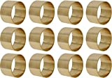 SKAVIJ Brass Napkin Rings Set of 12 Gold Round for Weddings Dinner Parties or Every Day Use