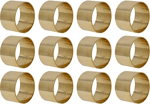 SKAVIJ Brass Napkin Rings Set of 12 Gold Round for Weddings Dinner Parties or Every Day Use by SKAVIJ