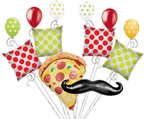 12 pc Pizza Party Balloon Bouquet Mustache Slice Happy Birthday Polka Dot Decor -