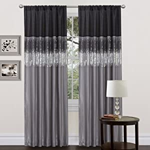 Amazon Lush Decor Night Sky Curtain Panel Black Gray