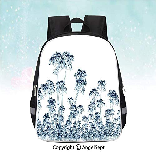 School Student Backpack,X ray Photo of a Tropical Forest Exotic Trees Plants Nature Negative Art Print,13