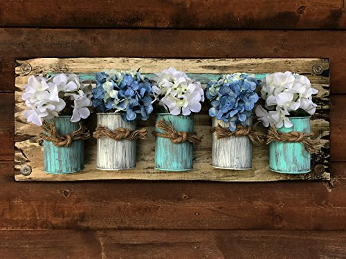 """Tin Can Wall Sign with or without flowers - CARIBBEAN BLUE & CREAM - Tin Jars on Wood Sign - Antique White Home Decor *Charming Decorative Wall Planter 30""""X12"""""""