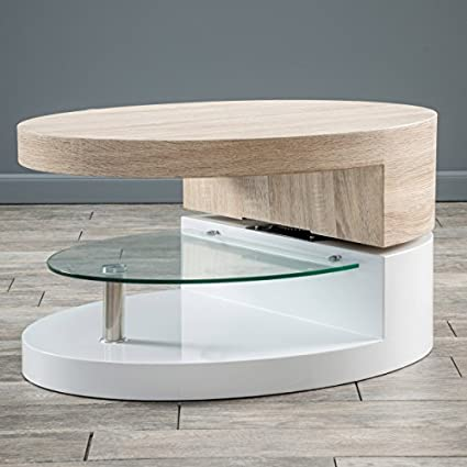 Merveilleux Emerson Oval Mod Swivel Coffee Table W/ Glass