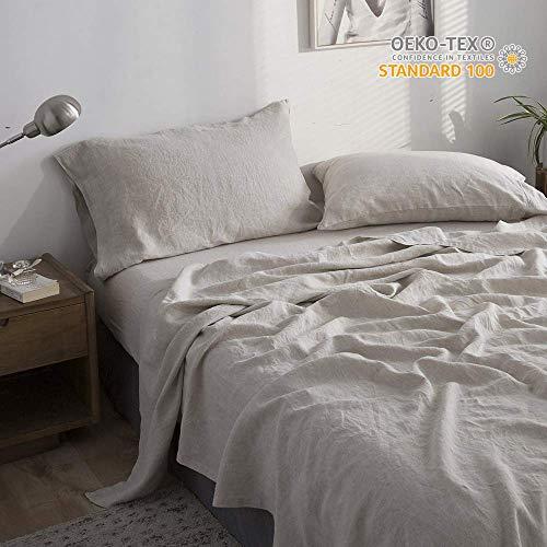 Simple&Opulence 100% Linen Embroidery Solid Sheet Set (Queen, Linen)