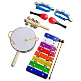 Children's Musical Instruments for Kids,Gimilife Xylophone,Rattle,Maracas,Sleigh Bell,Wrist Bells Percussion Toy Rhythm Band Set
