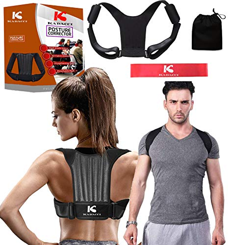 Best Adjustable Posture Corrector Device for Women Men Comfortable Foam Back Brace Neck Shoulder Support Clavicle Correction Effective Pain Relief Spine Arch Straightener Trainer Free Resistance Band