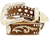 M & F Western Girls' And Rhinestone Inlay Belt Brown 20